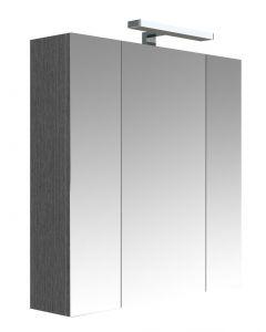 Juno Toiletkast Met Verlichting 70 Cm - Donkergrijze Eik - 70x75,2x16 cm