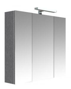 Juno Toiletkast Met Verlichting 80 Cm - Donkergrijze Eik - 80x75,2x16 cm - 3 Deuren