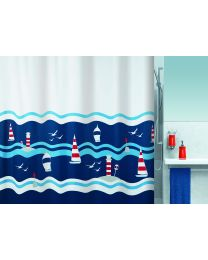 Spirella Clipperi - Douchegordijn- Textiel - 180 x200 cm - Blauw / Rood