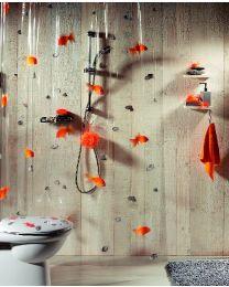 Spirella Goldfish - Douchegordijn - PVC - 180 x200 cm - Oranje