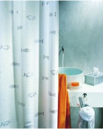 Spirella Kos - Douchegordijn - Zilver - Textiel - 180 x200 cm - Zilver