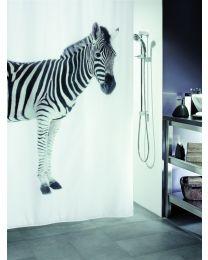 Spirella Zebra - Douchegordijn - Textiel - 180 x200 cm - Zwart